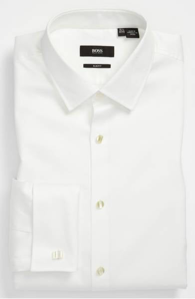 Hugo Boss Jasper Diamond Weave Tuxedo Dress Shirt