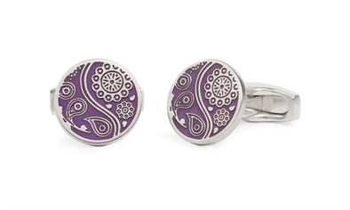 Simon Carter Paisley Guilloche Purple Cufflinks
