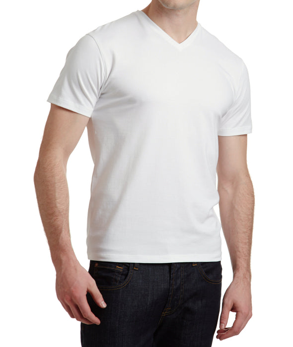 Patrick Assaraf Pima Cotton Stetch V Neck in White