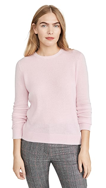 Theory Crewneck Sweater in Feather Cashmere in Pale Pink