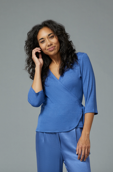 Sarah Liller Leila Wrap Top in Wedgewood Blue