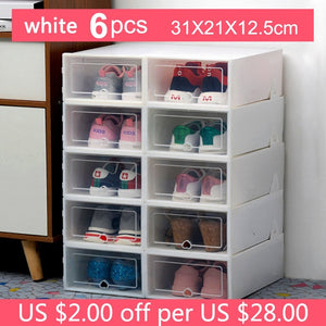 6PC Transparent Shoe Box Storage