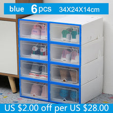 Load image into Gallery viewer, 6PC Transparent Shoe Box Storage