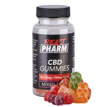 Load image into Gallery viewer, Discount Bundle Beast Pharm CBD Gummies Mixed Fruit - 25mg x 30 pcs - Pack of 3