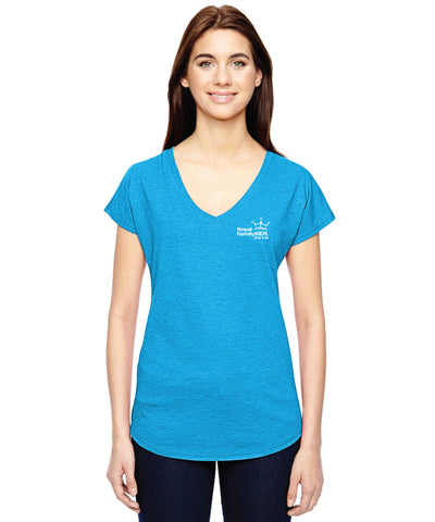 2018 Ladies' Aqua V-Neck Tri-Blend T-Shirt