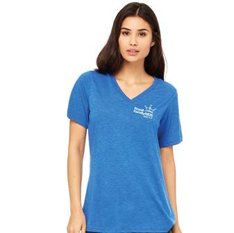 2017 Ladies' Blue V-Neck Tri-Blend T-Shirt