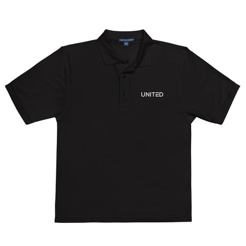 Black Embroidered 'UNITED' Premium Polo