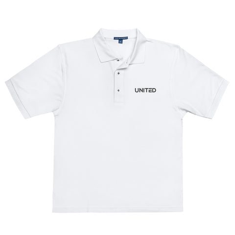 White Embroidered 'UNITED' Premium Polo