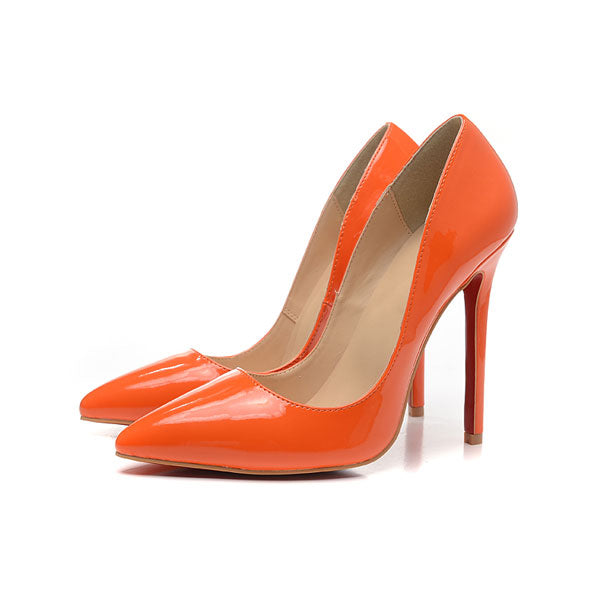 Trendy Orange Pointed Toe Leather High Heel Pumps