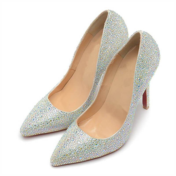 Womens Silver Colorful Rhinestone  High Heel Party Dress Pumps