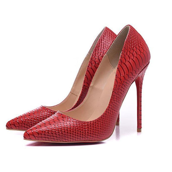 Womens Fashion Serpentine Pointed Toe Leather Pumps