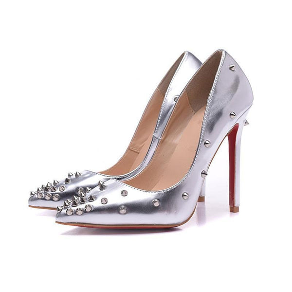 Womens  Silver Red  Luxury Rivet Pointed Toe Pumps