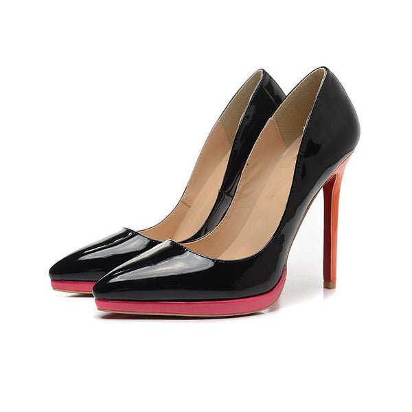 Womens Black Simple Fashion Pointed Toe High Heel Pumps