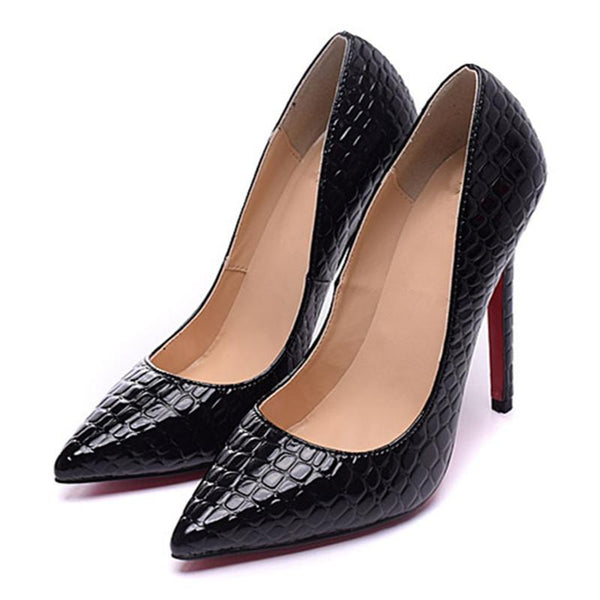 Womens  Black Solid Snake Pattern Pointed Toe Leather Pumps