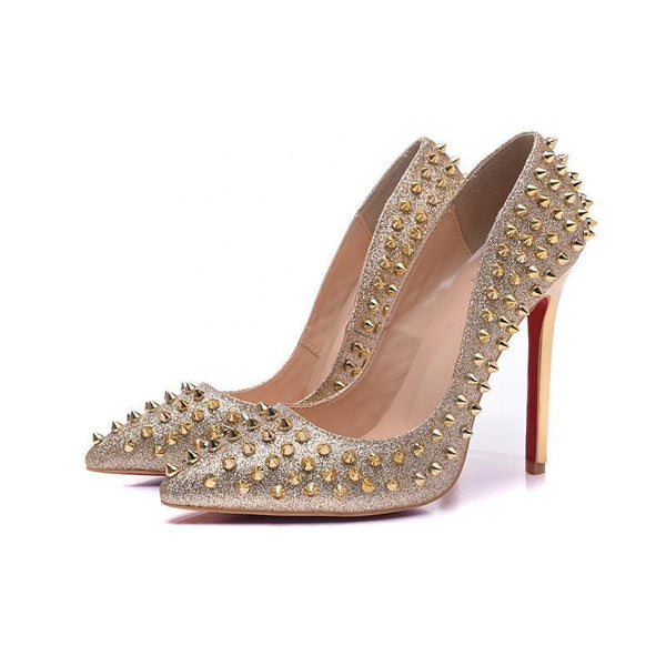 Womens Leather Gold Spiked High Heels Rivet Pumps
