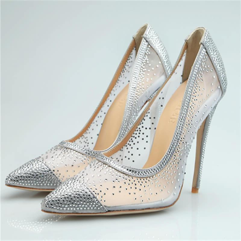 Womens  Sexy Silver  Rhinestone Breathable High Heels
