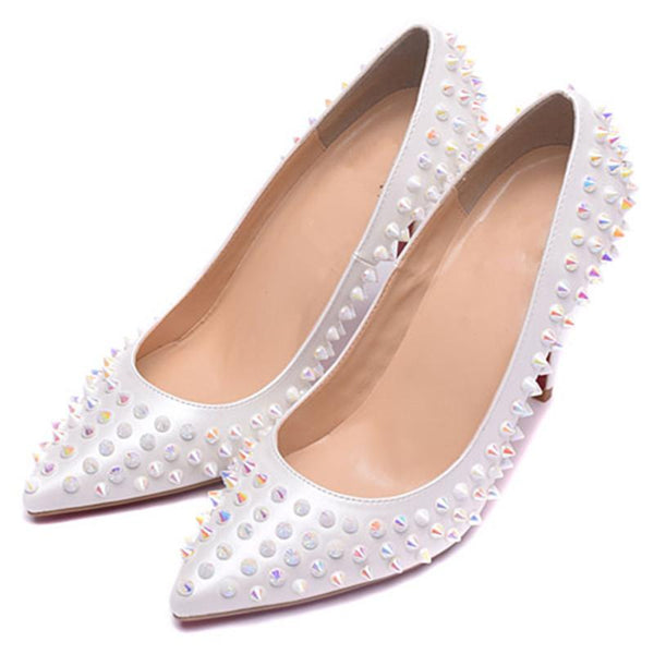 Womens  Spikes White  Leather Pointed Toe Aurore Pumps