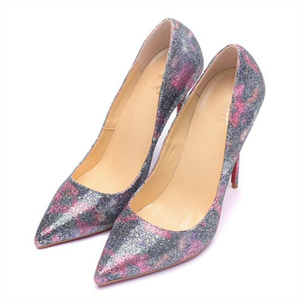 Womens Glitter Silver Pink Pointed Toe Pumps