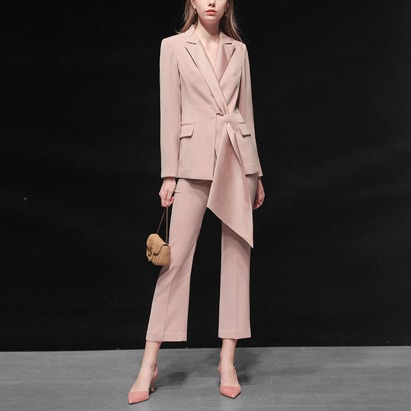 Women's fashion temperament casual two-piece pink suit