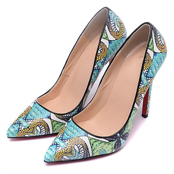 Womens Printed Shoes Luxury Snake Pattern Pumps