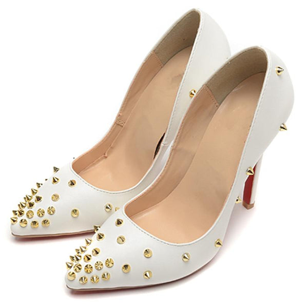 Women Rivet White Pointed Toe Heels Shoes