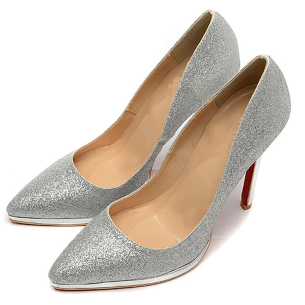 Womens Silver Simple Fashion Pointed Toe High Heel Pumps