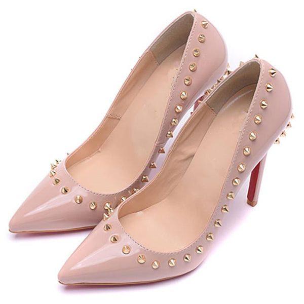 Womens  Pink Red  Luxury Rivet Pointed Toe Pumps