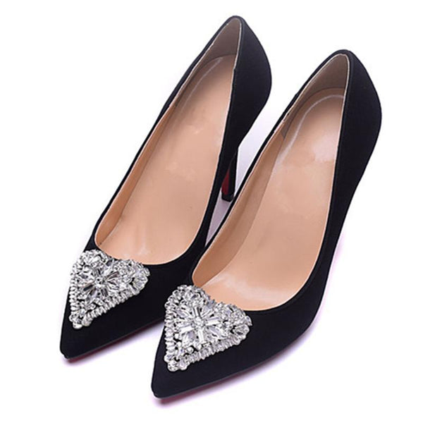 Womens Black Suede Heart Diamond Pointed Toe Pumps