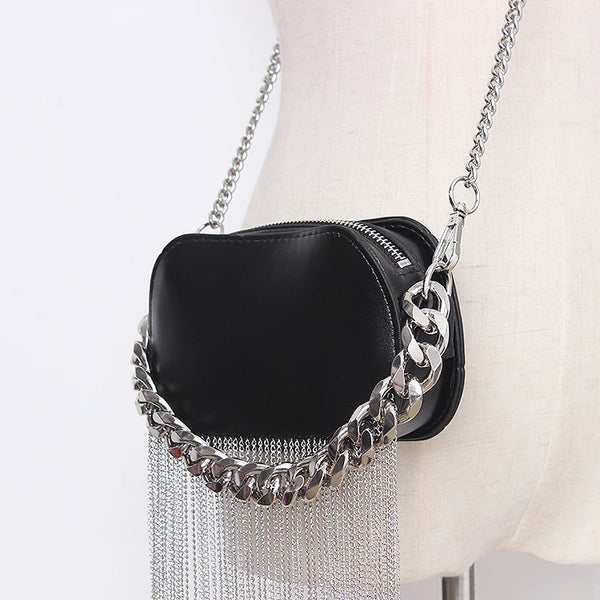 metal and chain bags