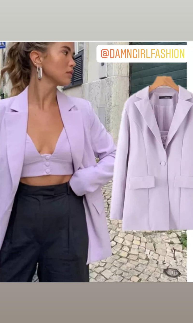 3PC Blazer Shorts and Crop Camilla Sets