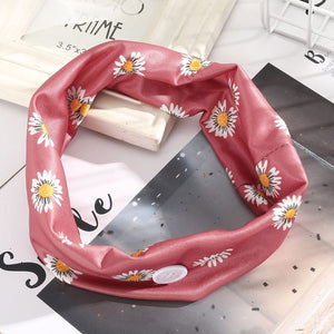 Printed Hairband With Button Face Holder Wearing Protect Ears Head Wrap Headband Hair Accessories заколки для волос Headbands