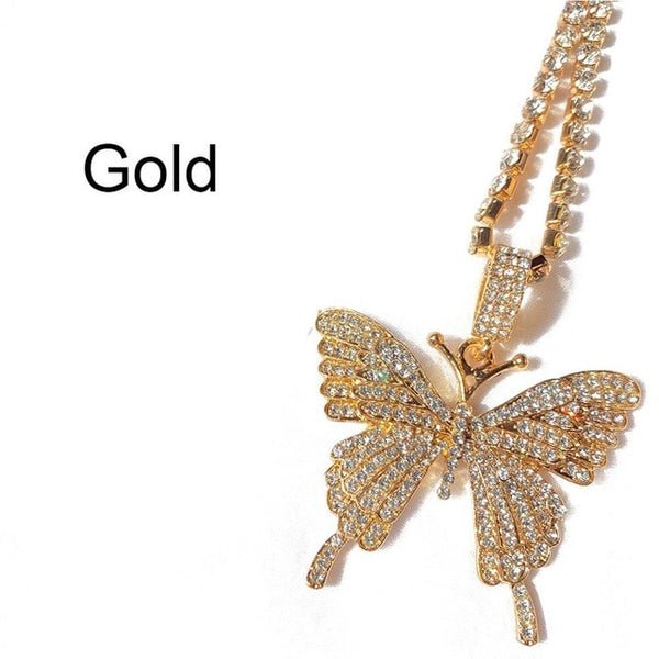 StoneFans Cute Butterfly Necklace Pendant Chain for Women Shining MINI ICED DETTA Rhinestone Necklace Pink Wholesale Jewelry