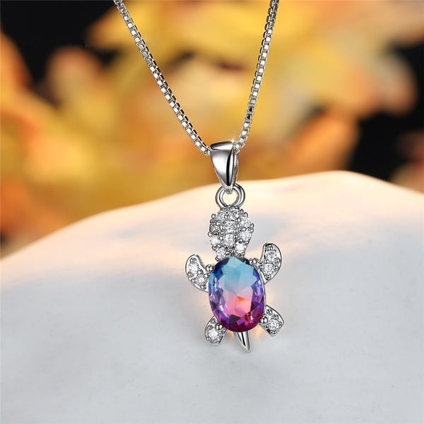 Blue Purple Oval Zircon Pendant Rainbow Stone Cute Turtle Necklaces For Women Fashion Jewelry Multicolor Crystal Animal Necklace