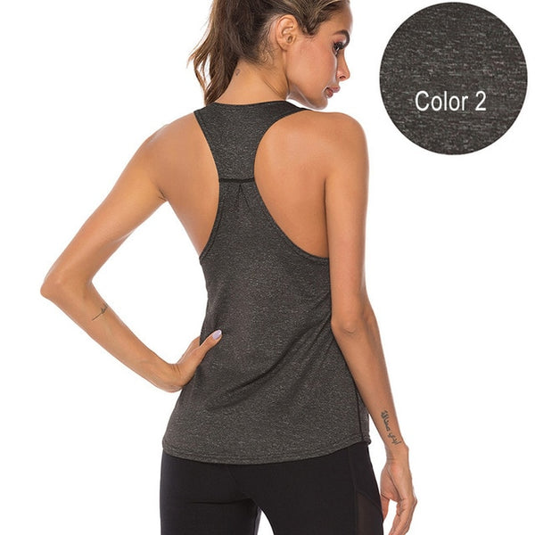 VEQKING Sleeveless Racerback Yoga Vest Sport Singlet Women Athletic Fitness Sport Tank Tops Gym Running Training Yoga Shirts
