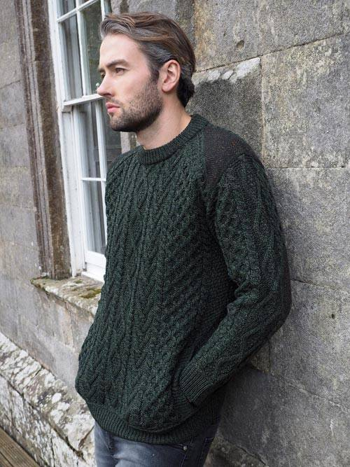 ARCR Z4630-CREW ARMY GREEN CREW NECK WITH TWEED ARMY GREEN