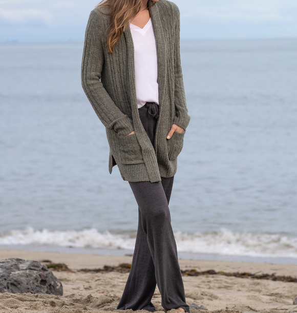 Cozychic Lite Heathered Cable Cardi