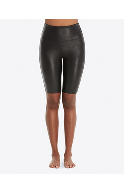SPANX Faux Leather Bike Short Black