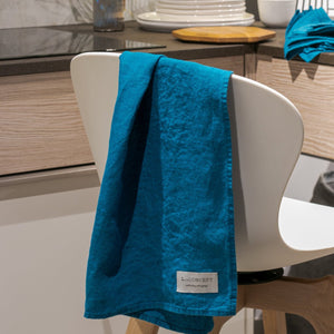 Linen kitchen towels turquoise blue