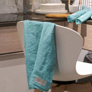 Linen kitchen towels mint green