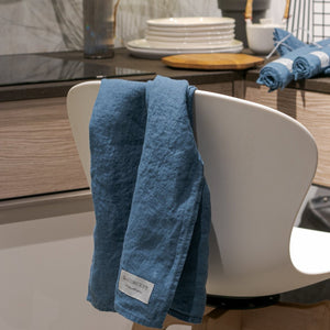 Linen kitchen towels smoke blue