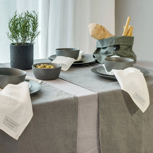Linen tablecloth light grey