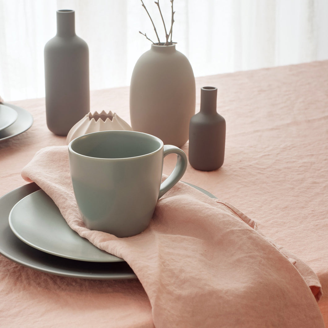 linen tablecloth pink