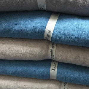 Linen tablecloth old blue