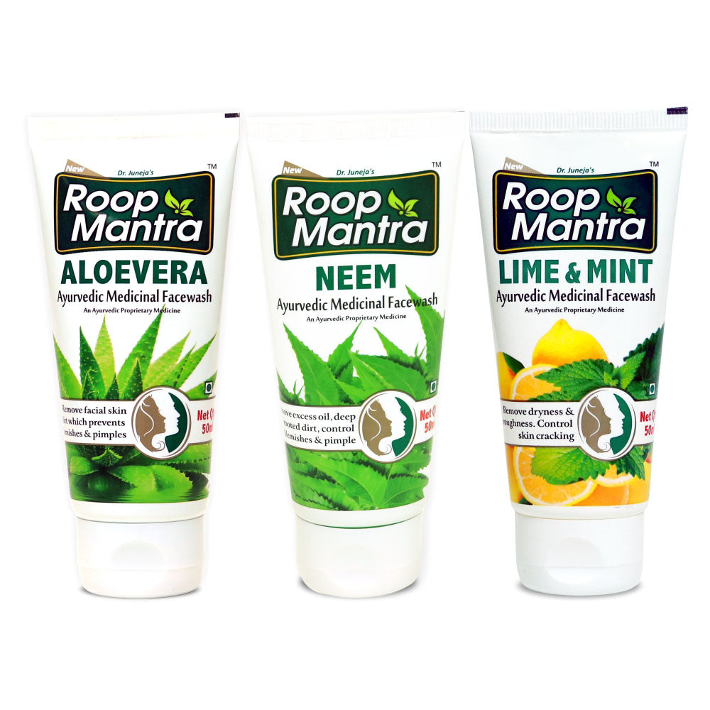 Roop Mantra Face Wash Combo (AloeVera 50ml, Neem 50ml, Lime & Mint 50ml)