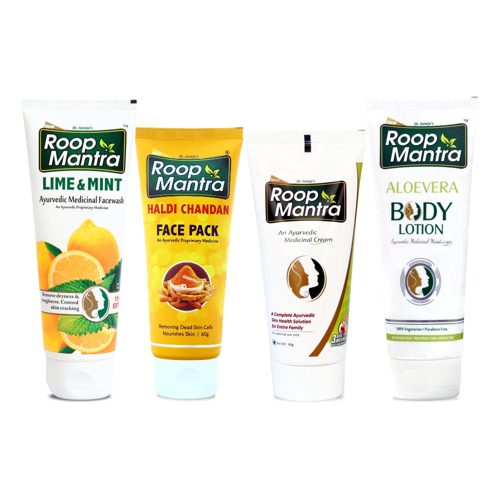 Roop Mantra Dry & Sensitive Skin Care Combo (Lime & Mint FaceWash 115ml, Haldi Chandan Face Pack 60g, Face Cream 60g, AloeVera Body Lotion 115ml)