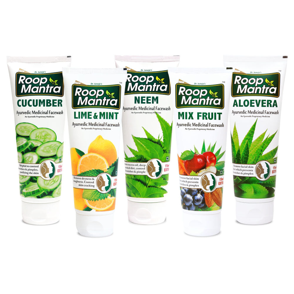 Roop Mantra Face Wash Combo Pack of 5 (AloeVera 115ml, Neem 115ml, Cucumber 115ml, Lime & Mint 115ml, Mix Fruit 115ml)