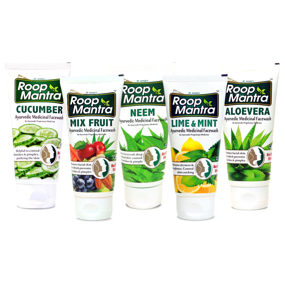 Roop Mantra Face Wash Combo Pack of 5 (Neem 50ml, Cucumber 50ml, Lime & Mint 50ml, Mix Fruit 50ml, AloeVera 50ml)