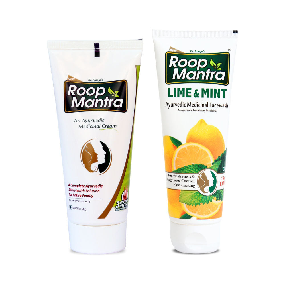Roop Mantra Face Care Kit (Face Cream 60g, Lime & Mint Face Wash 115ml)