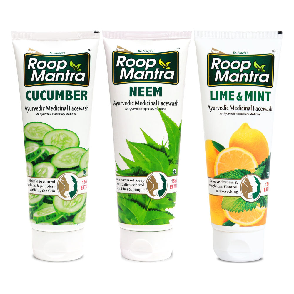Roop Mantra Face Wash Combo (Cucumber 115ml, Neem 115ml, Lime & Mint 115ml)