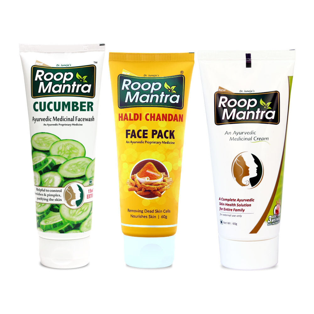 Roop Mantra Oily Skin Combo Pack (Cucumber Face Wash 115ml, Haldi Chandan Face Pack 60g, Face Cream 60g)